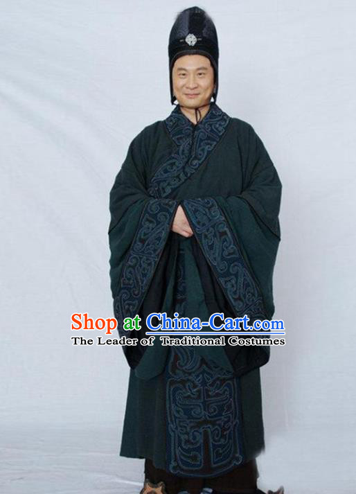 Traditional Chinese Ancient Minister Costume, Elegant Hanfu Clothing Chinese Ancient Qin Dynasty Eunuch Embroidery Robe Clothing