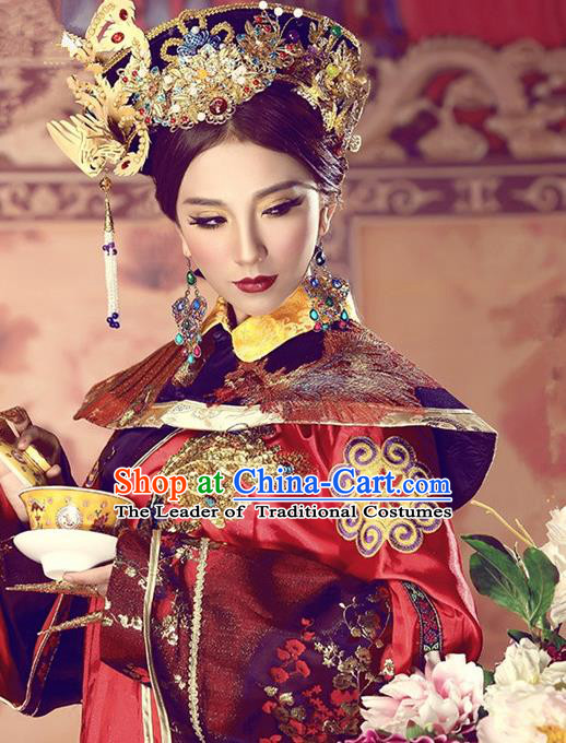 Traditional Ancient Chinese Imperial Consort Hair Accessories, Chinese Qing Dynasty Manchu Lady Headwear for Women