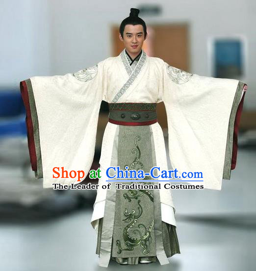 Traditional Chinese Ancient Qin Dynasty Emperor Embroidered Costume, China Han Dynasty Majesty Embroidery Hanfu Clothing