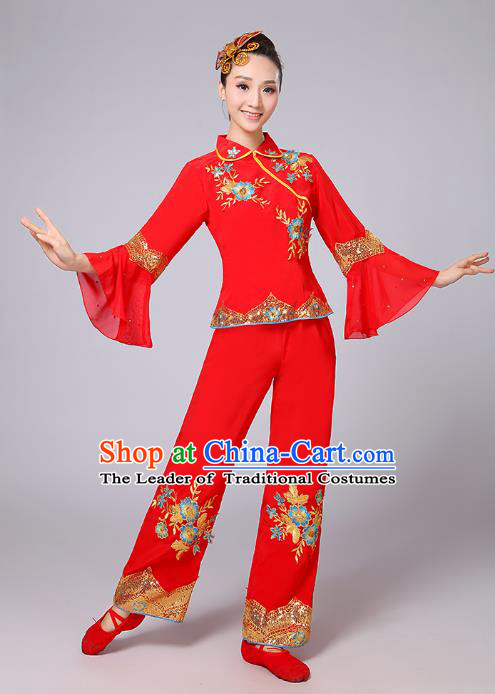 Traditional Chinese Folk Dance Costume Yangge Dance Red Mandarin Sleeve Uniform, Chinese Classical Fan Dance Umbrella Dance Yangko Embroidery Clothing for Women