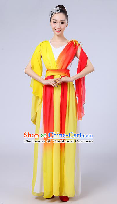 Traditional Chinese Folk Dance Costume Yangge Dance Yellow Dress, Chinese Classical Fan Dance Umbrella Dance Yangko Embroidery Clothing for Women