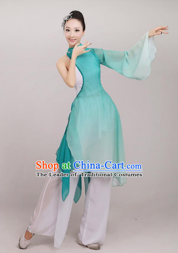Traditional Chinese Folk Dance Costume Yangge Dance Green Chiffon Uniform, Chinese Classical Fan Dance Umbrella Dance Yangko Embroidery Clothing for Women