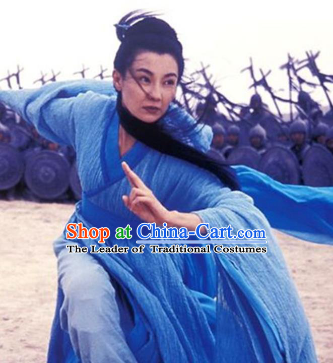 Traditional Chinese Ancient Female Swordsman Costume, Chinese Qin Dynasty Kawaler Hanfu Blue Dress Clothing for Women
