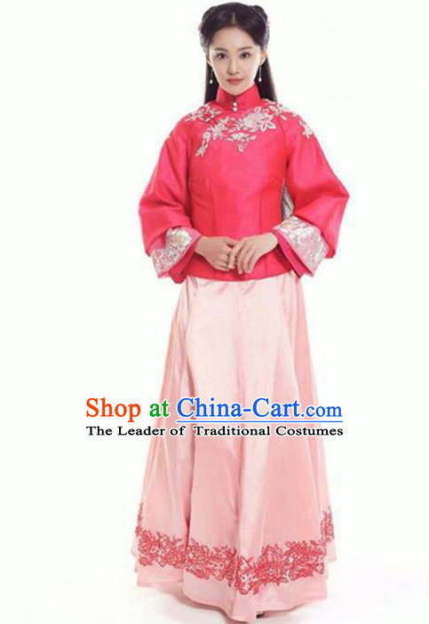 Traditional Chinese Ancient Nobility Lady Costume Rosy Blouse and Pink Skirt, Elegant Hanfu Clothing Chinese Republic of China Young Lady Embroidery Cheongsam Clothing