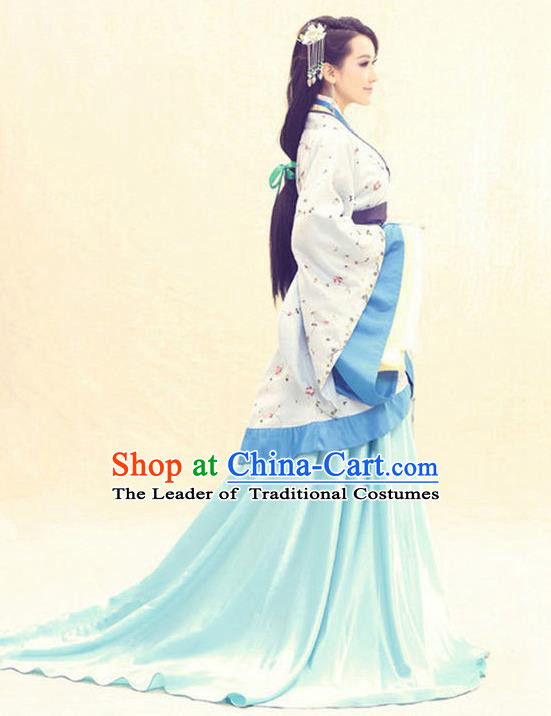 Traditional Ancient Chinese Imperial Consort Costume, Elegant Hanfu Clothing Chinese Han Dynasty Palace Lady Tailing Embroidered Clothing for Women