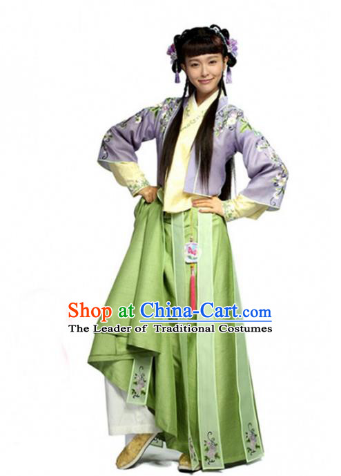 Traditional Chinese Ancient Nobility Lady Costume, Elegant Hanfu Clothing Chinese Ming Dynasty Young Lady Swordswoman Embroidery Green Dress Clothing