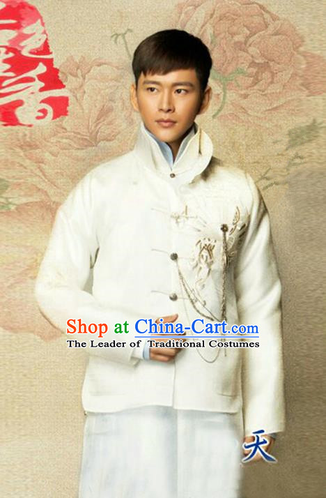 Traditional Chinese Nobility Childe Costume Mandarin Jacket and White Long Robe, Chinese Republic of China Young Master Embroidery Clothing for Men