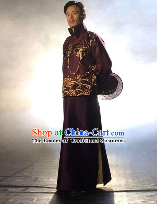 Traditional Chinese Nobility Childe Costume Purple Mandarin Jacket and Long Robe, Chinese Republic of China Young Master Embroidery Clothing for Men