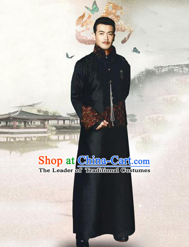 Traditional Chinese Nobility Childe Costume Black Mandarin Jacket and Long Robe, Chinese Republic of China Young Master Embroidery Clothing for Men