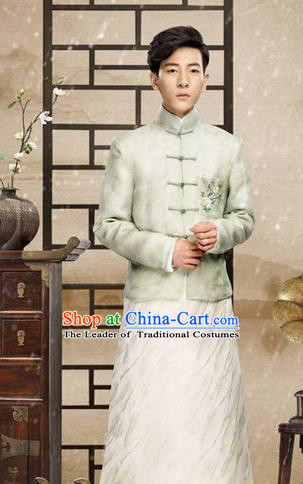 Traditional Chinese Nobility Childe Costume Mandarin Jacket and Long Robe, Chinese Republic of China Young Master Embroidery Clothing for Men