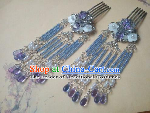 Traditional Chinese Ancient Classical Handmade Hair Accessories Barrettes Hairpin, Hanfu Hair Comb Tassel Step Shake Hair Fascinators Hairpins for Women