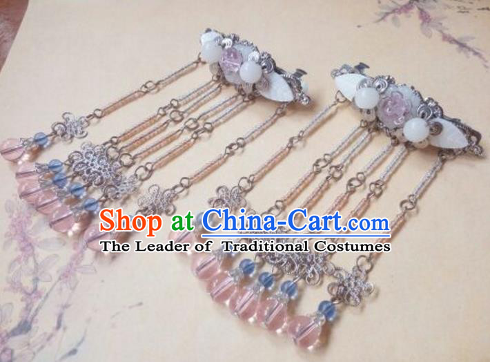 Traditional Chinese Ancient Classical Handmade Hair Accessories Young Lady Tassel Hairpin, Hanfu Hair Stick Hair Fascinators Hairpins for Women