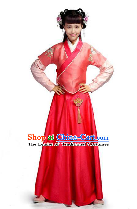 Traditional Chinese Ancient Nobility Lady Costume, Elegant Hanfu Clothing Chinese Ming Dynasty Young Lady Swordswoman Embroidery Red Dress Clothing