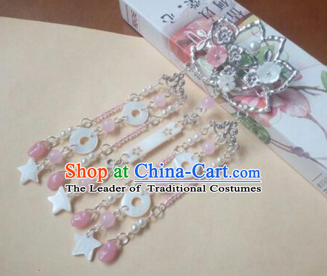 Traditional Chinese Ancient Classical Handmade Hair Accessories Palace Lady Tassel Lotus Hairpin, Hanfu Hair Stick Hair Fascinators Hairpins for Women