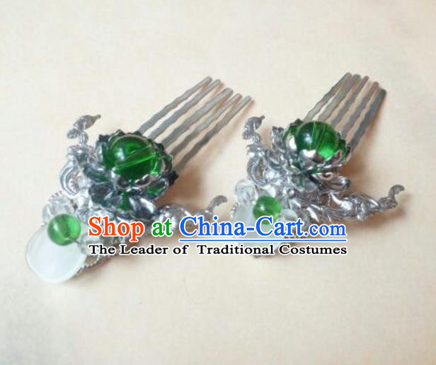 Traditional Chinese Ancient Classical Handmade Hair Accessories Palace Lady Green Bead Hair Comb, Hanfu Hair Claw Hair Fascinators Hairpins for Women