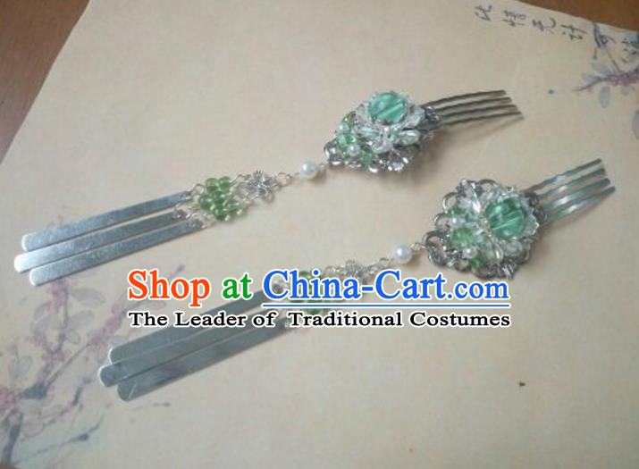 Traditional Chinese Ancient Classical Handmade Palace Lady Lotus Hairpin Hair Accessories, Hanfu Green Bead Tassel Hair Comb Hair Fascinators Hairpins for Women