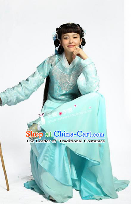 Traditional Chinese Ancient Nobility Lady Costume, Elegant Hanfu Clothing Chinese Ming Dynasty Young Lady Swordswoman Embroidery Blue Dress Clothing