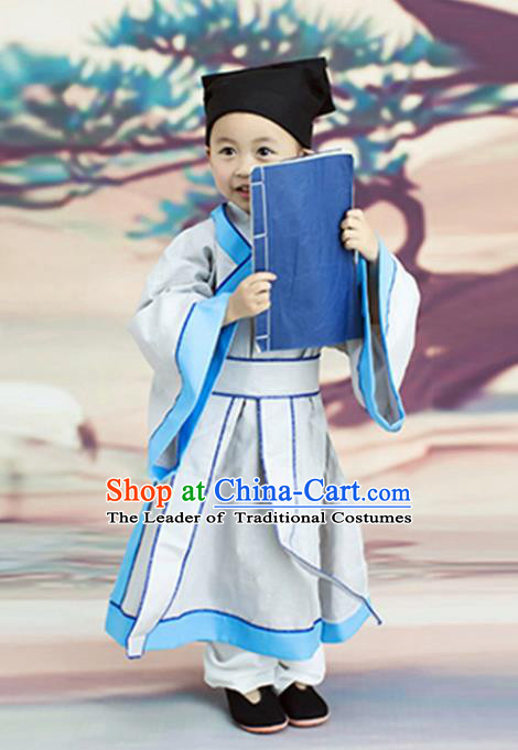 Traditional Chinese Ancient Scholar Costume, Chinese Han Dynasty Niche Hanfu Clothing for Kids