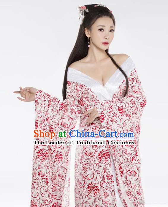 Traditional Ancient Chinese Apsaras Dance Costume, Elegant Hanfu Clothing Chinese Tang Dynasty Imperial Concubine Clothing for Women
