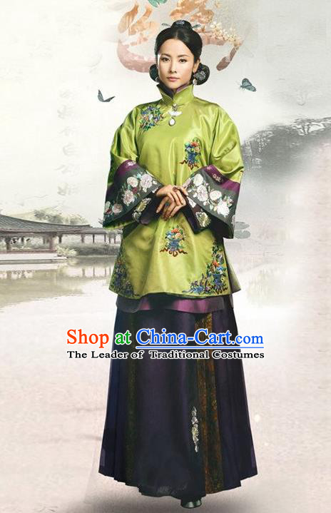 Traditional Ancient Chinese Republic of China Princess Costume Green Xiuhe Suit, Elegant Hanfu Clothing Chinese Qing Dynasty Nobility Dowager Clothing for Women