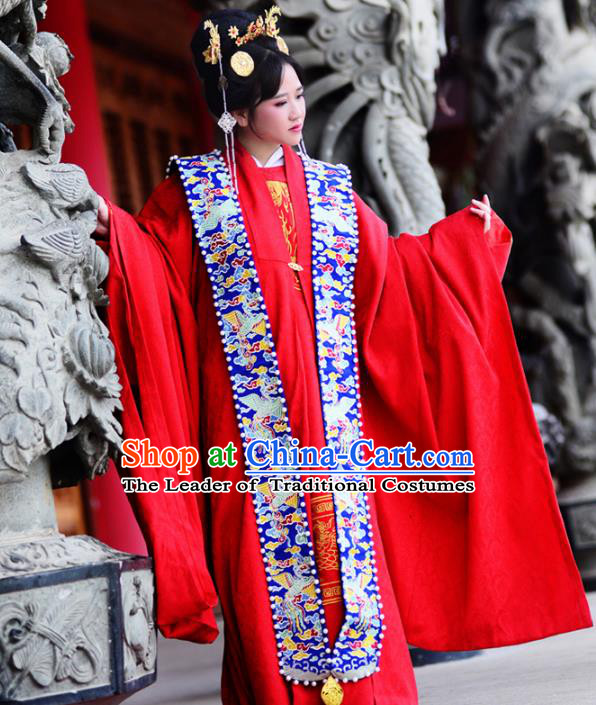 Traditional Ancient Chinese Imperial Empress Wedding Costume, Elegant Hanfu Clothing Chinese Ming Dynasty Queen Bride Embroidered Red Clothing