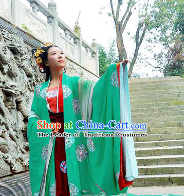 Traditional Chinese Tang Dynasty Imperial Concubine Costume Green Wide Sleeve Cardigan, Elegant Hanfu Chinese Imperial Empress Embroidered Clothing for Women