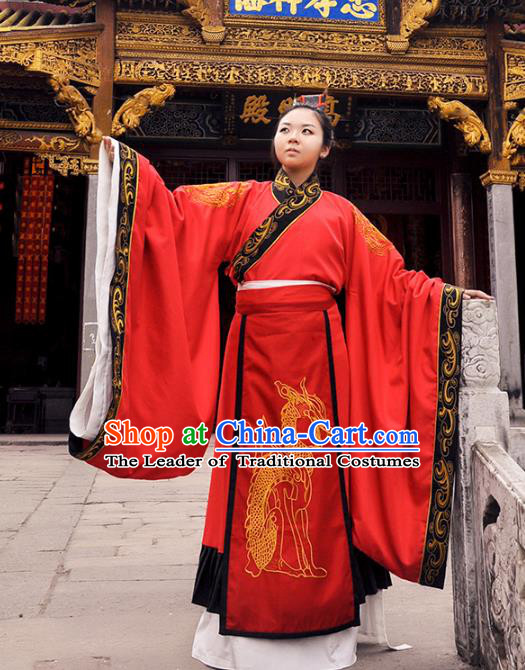 Traditional Chinese Han Dynasty Imperial Emperor Costume Wedding Red Robe, Elegant Hanfu Chinese Majesty Bridegroom Embroidered Clothing for Men