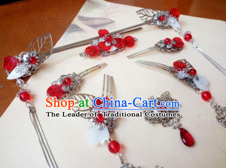 Traditional Chinese Ancient Classical Handmade Palace Princess Red Bead Hair Comb Hair Accessories Complete Set, Hanfu Tassel Hair Stick Hair Fascinators Hairpins for Women