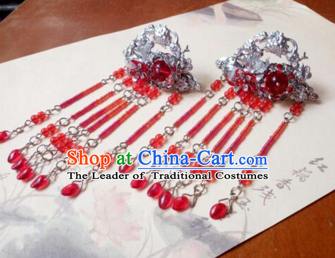 Traditional Chinese Ancient Classical Handmade Palace Princess Hair Claw Hair Accessories, Hanfu Red Bead Tassel Step Shake Hair Stick Hair Fascinators Hairpins for Women