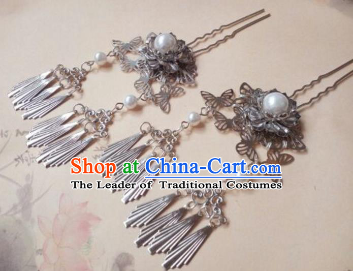 Traditional Handmade Chinese Ancient Classical Palace Lady Butterfly Flower Tassel Hair Accessories, Hair Claw Hair Jewellery, Hair Fascinators Plum Blossom Hairpins for Women