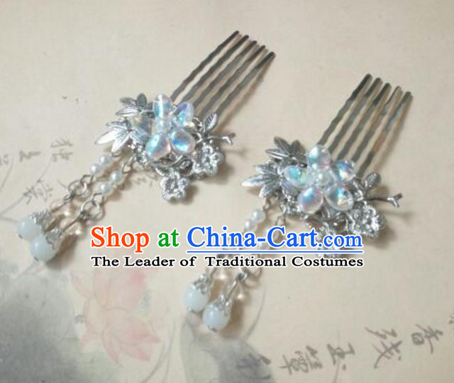 Traditional Handmade Chinese Ancient Classical Palace Lady Hair Accessories Tassel Hair Comb, Hair Fascinators Beads Hairpins for Women