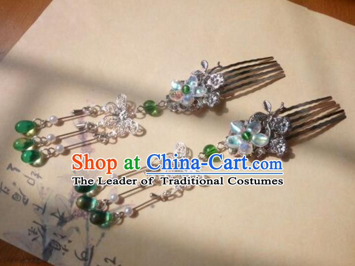 Traditional Handmade Chinese Ancient Classical Palace Lady Hair Accessories Hanfu Green Beads Tassel Hair Comb, Hair Fascinators Hairpins for Women