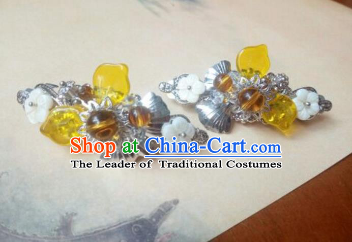 Traditional Handmade Chinese Ancient Classical Hanfu Hair Accessories Palace Lady Yellow Bead Hair Claw, Princess Hairpins Hair Stick Headwear for Women