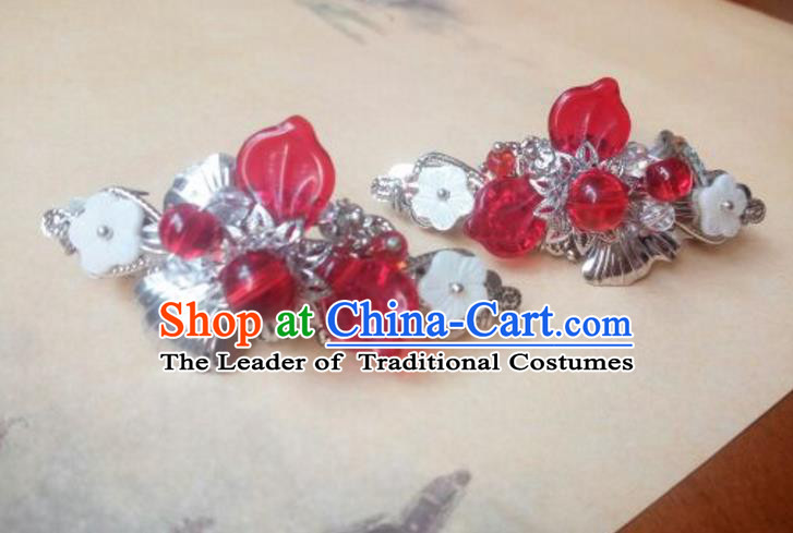 Traditional Handmade Chinese Ancient Classical Hanfu Hair Accessories Palace Lady Red Bead Hair Claw, Princess Hairpins Hair Stick Headwear for Women
