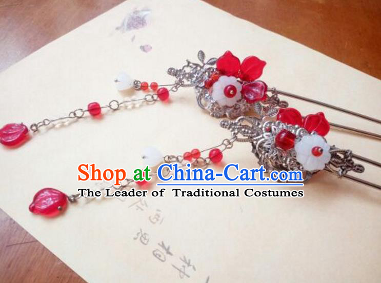 Traditional Handmade Chinese Ancient Classical Hanfu Hair Accessories Palace Lady Red Step Shake, Princess Hairpins Headwear for Women