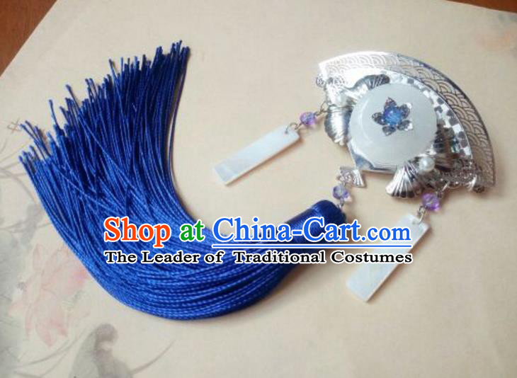 Traditional Handmade Chinese Ancient Classical Hanfu Hair Accessories Fan Jade Hair Claw, Princess Palace Lady Blue Tassel Step Shake Hairpins Headwear for Women