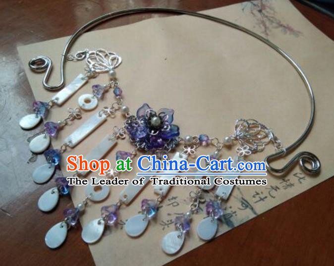 Traditional Handmade Chinese Ancient Classical Palace Lady Jewelry Accessories Shell Necklace for Women