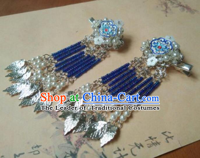 Traditional Handmade Chinese Ancient Classical Hair Accessories Hairpin, Blueing Hair Stick Hair Jewellery, Hair Fascinators Hairpins for Women