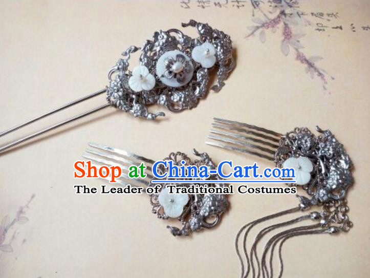 Traditional Handmade Chinese Ancient Classical Hair Accessories Hairpins Tassel Hair Comb Complete Set for Women