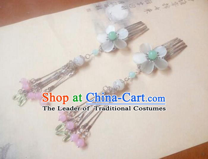 Traditional Handmade Chinese Ancient Classical Hair Accessories Hairpins Pink Tassel Hair Comb Headwear for Women