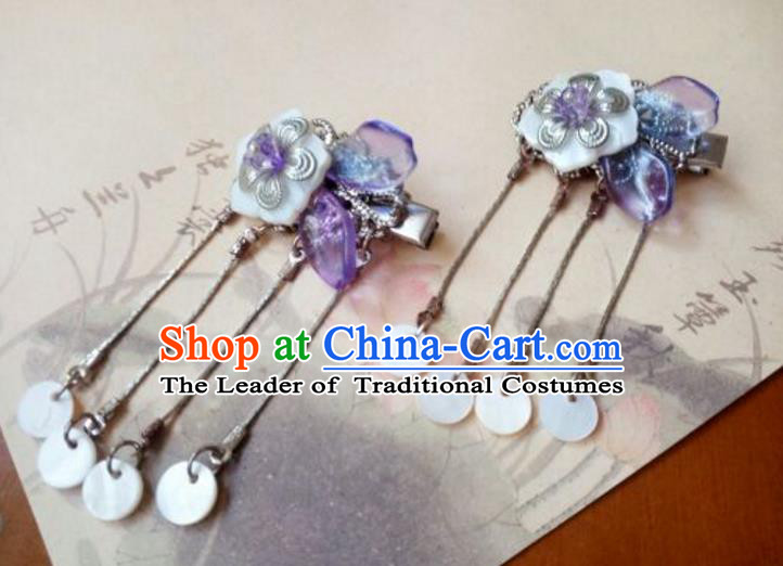 Traditional Handmade Chinese Ancient Classical Hair Accessories Coloured Glaze Purple Tassel Hair Claw for Women