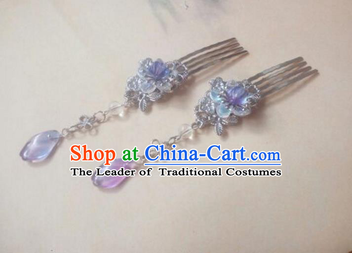 Traditional Handmade Chinese Ancient Classical Hair Accessories Purple Tassel Hair Comb Headwear for Women