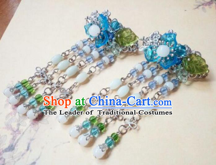 Traditional Handmade Chinese Ancient Classical Hair Accessories Coloured Glaze Beads Tassel Hair Claw Headwear for Women