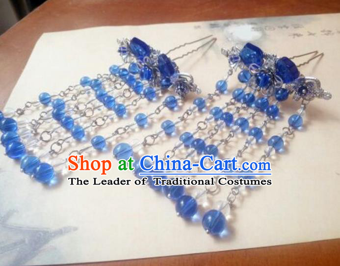 Traditional Handmade Chinese Ancient Classical Hair Accessories Blue Beads Tassel Hairpins Step Shake Headwear for Women