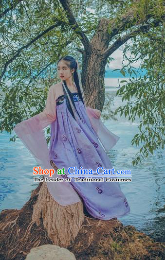Traditional Chinese Tang Dynasty Palace Lady Fairy Costume Blouse and Embroidery Purple Slip Skirt, Elegant Hanfu Clothing Chinese Ancient Princess Clothing for Women