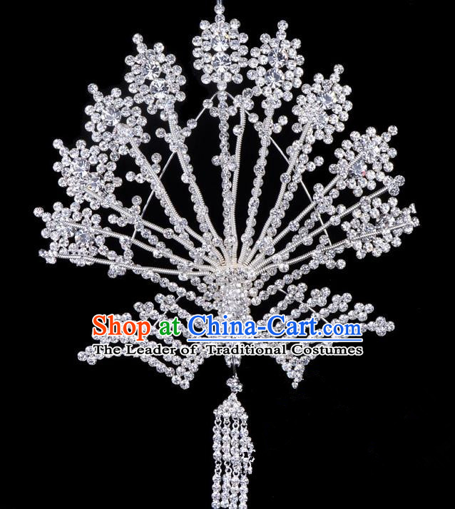 Traditional Beijing Opera Diva Hair Accessories Crystal Phoenix Hairpins, Ancient Chinese Peking Opera Hua Tan Tassel Step Shake Hair Stick Headwear