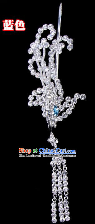 Traditional Beijing Opera Diva Hair Accessories Crystal Phoenix Hairpins Head-ornaments, Ancient Chinese Peking Opera Hua Tan Tassel Step Shake Hair Stick Headwear