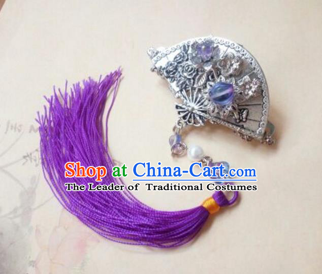 Traditional Handmade Chinese Ancient Classical Hanfu Hair Accessories Tassel Hair Claw, Princess Palace Lady Tassel Hairpins Hair Stick for Women