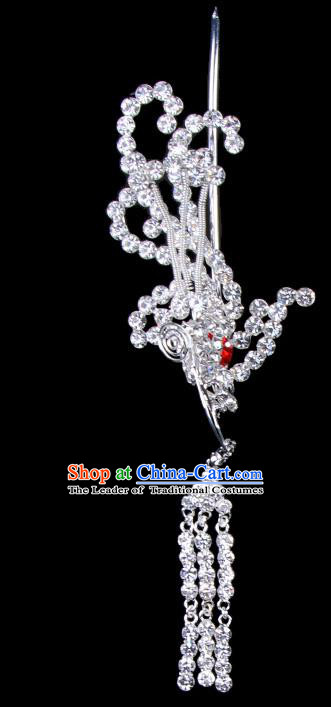 Traditional Beijing Opera Diva Hair Accessories Red Crystal Phoenix Hairpins Head-ornaments, Ancient Chinese Peking Opera Hua Tan Tassel Step Shake Hair Stick Headwear