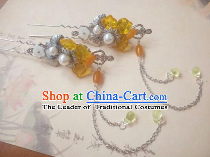 Traditional Handmade Chinese Ancient Classical Hanfu Hair Accessories Tassel Step Shake, Princess Palace Lady Yellow Hairpins Hair Stick for Women